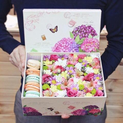 Цветы и macaron ( 5 шт.) #15711