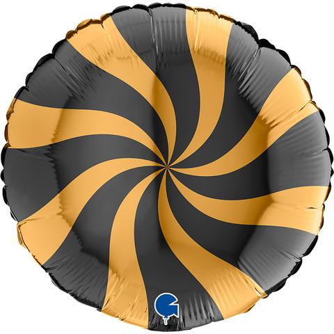 Фольгированный шар круг , Леденец, Черный\Золото 46 см