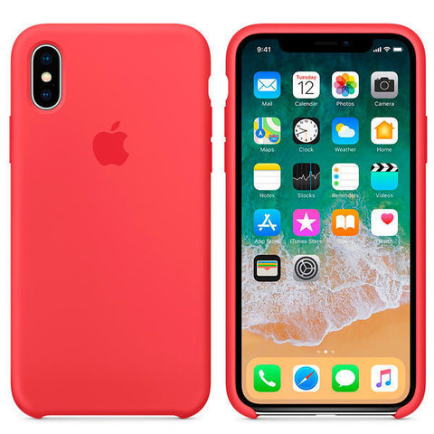 iPhone X Silicone Case Red Raspberry