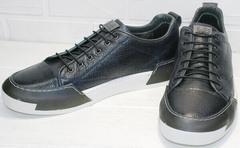 Спортивные кожаные туфли кеды низкие мужские осень весна Luciano Bellini C6401 TK Blue.