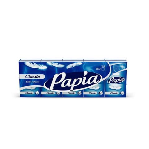 Носовые платочки бумажные Papia 4-слойные (10 пачек по 10 платков)
