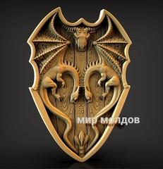 Силиконовый молд щит Драконы