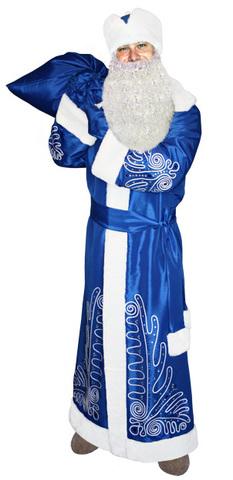 Костюм Дед Мороз Боярский синий