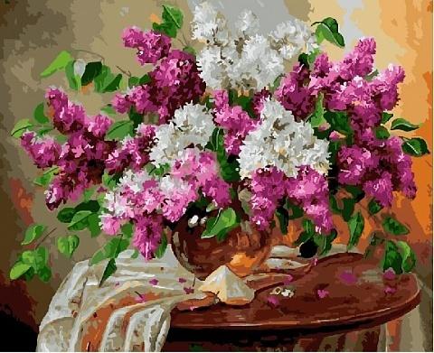Алмазная Мозаика 40x50 Белая и розовая сирень на столе