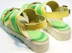 Кожаные сандали на плоской подошве Crisma 784 Yellow Green.
