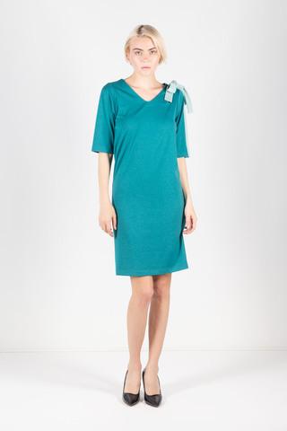 Фото бирюзовое однотонное нарядное платье с завязкой на плече - Платье З435-696 (1)
