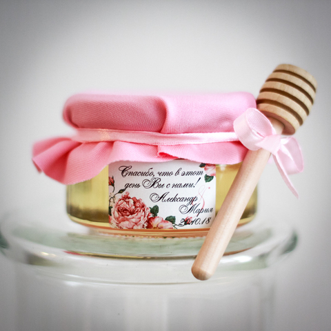 Бонбоньерка с медом на свадьбу с ложкой, 250 грамм