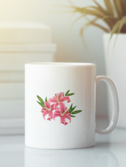 Кружка с изображением  Цветы (Лилии) белая 006