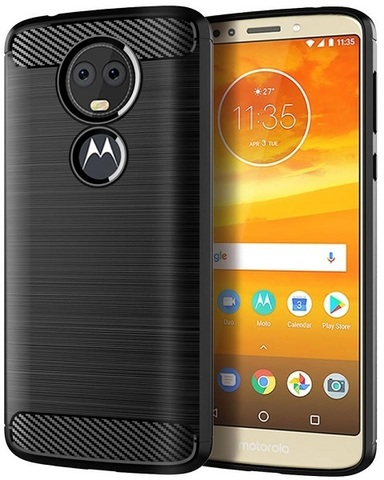 Чехол Motorola Moto E5 Plus (E5 Supra) цвет Black (черный), серия Carbon, Caseport