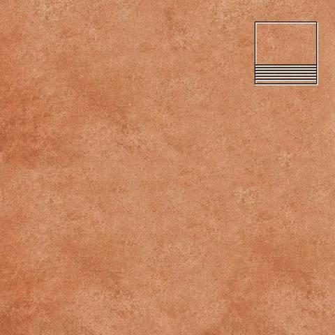Stroeher - Euramic Cadra E 523 cotto 300х294х8 артикул 8130 - Клинкерная напольная плитка для ступени, с насечкой