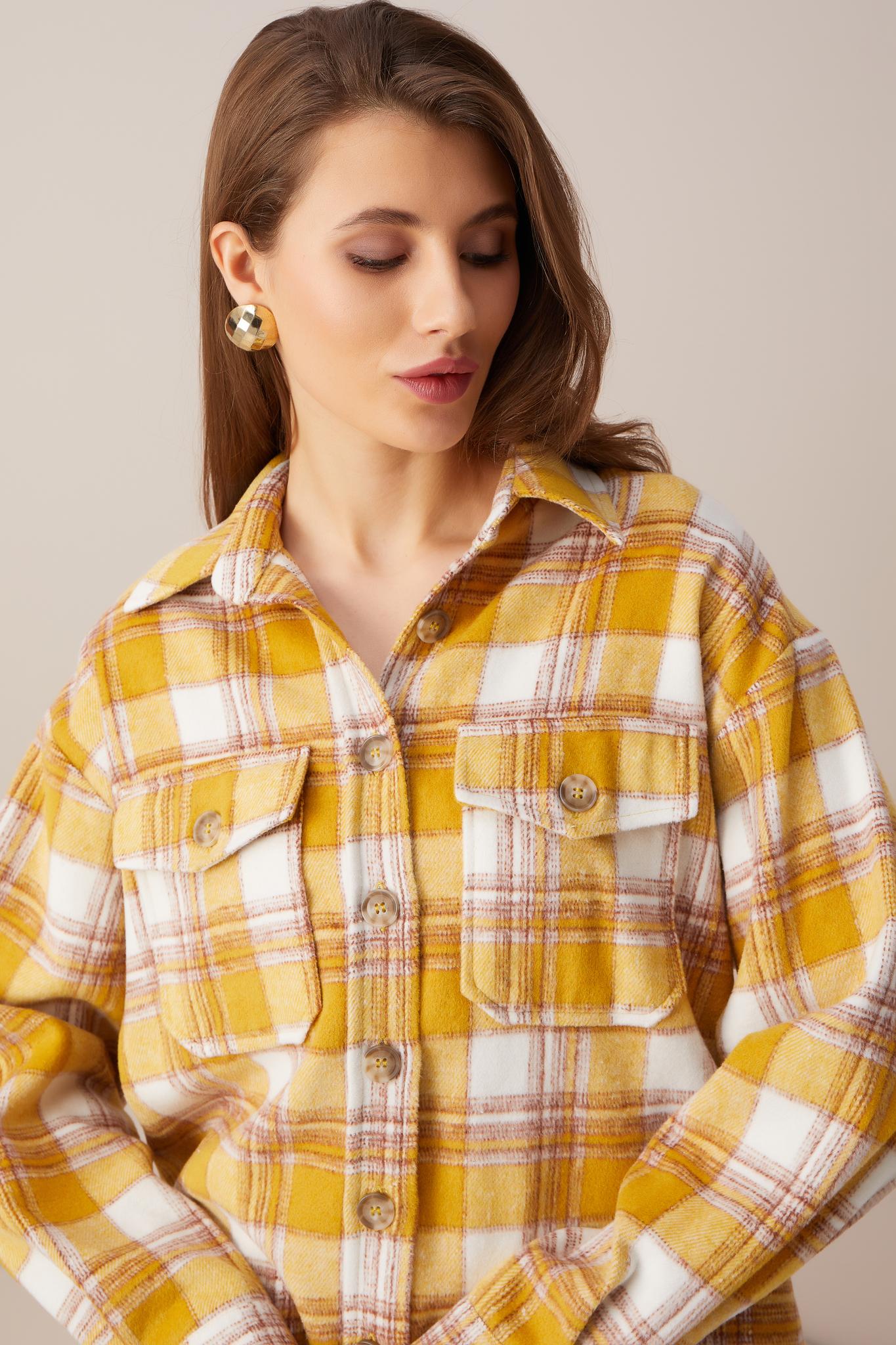 Рубашка из шерсти свободного кроя (желтая клетка)