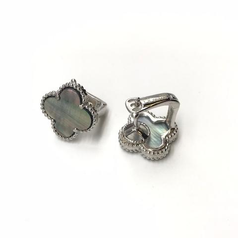 66123- Серьги Trendy из серебра с темным перламутром 1 мотив
