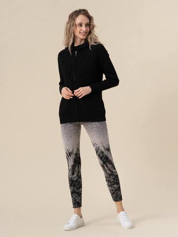 Женский джемпер черного цвета на молнии из 100% кашемира - фото 5