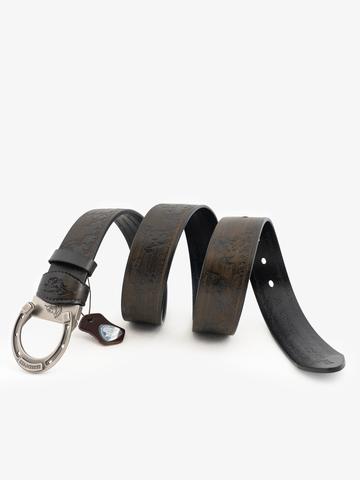 Ремень «Вольные кони» серо-коричневого цвета