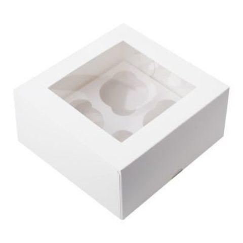 Коробка для 4 капкейков (белая)