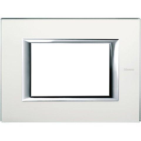 Рамка 1 пост, прямоугольная форма. СТЕКЛО. Цвет Матовое стекло. Итальянский стандарт, 3 модуля. Bticino AXOLUTE. HA4803VSA