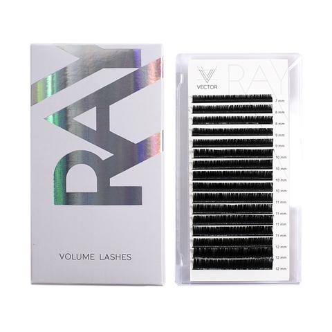 VLR-017 Микс ресниц для наращивания. VECTOR RAY Volume Lashes. Изгиб D. Толщина 0,07 мм. Длина 7-12