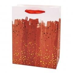 Пакет подарочный, Браш Искры, Красный, Металлик, 23*18*10 см, 1 шт.