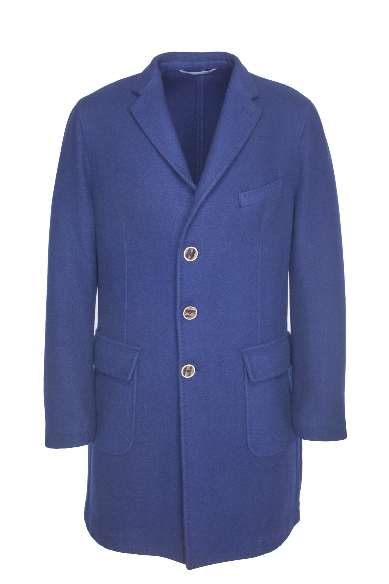 Классическое ярко-синее шерстяное пальто