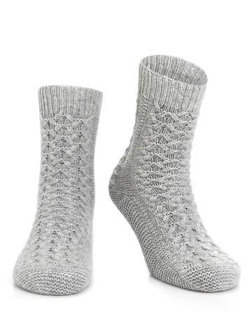 Женские носки серого цвета из 100% кашемира - фото 1