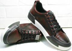 Весенние кеды кроссовки для повседневной жизни мужские Luciano Bellini C6401 MC Bordo.