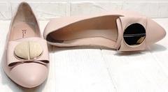 Женские туфли лодочки балетки натуральная кожа Wollen G192-878-322 Light Pink.