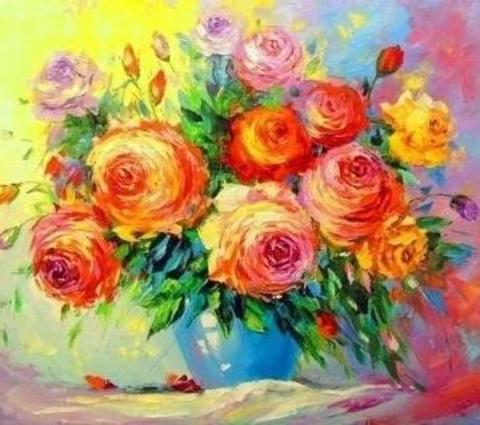Алмазная Мозаика 40x50 Цветной яркий букет