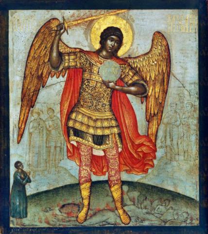 Икона Архангел Михаил 1668 года, Симон Ушаков на дереве на левкасе мастерская Иконный Дом