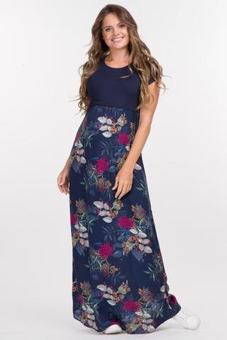Платье для беременных и кормящих 10124 темно-синий