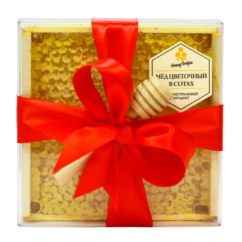 Натуральный мед в сотах HoneyForYou в подарочном оформлении с красной лентой, 350 г