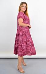 Твіст. Сукня з v-подібним вирізом для повних. Лео рожевий