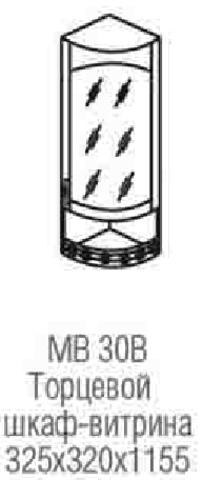 шкаф витрина торцевой с нишей МВ-30В