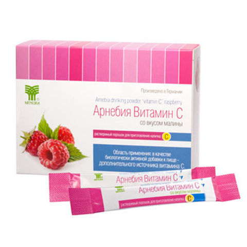 АРНЕБИЯ витамин С со вкусом малины, растворимый порошок для приготовления напитка (10 шт в упаковке)