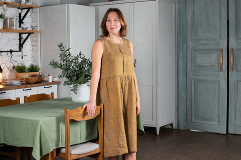 Платье льняное меланж горчица с синим отливом