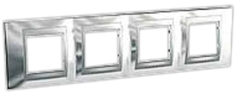 Рамка на 4 поста. Цвет Хром глянцевый-алюминий. Schneider electric Unica Top. MGU66.008.010
