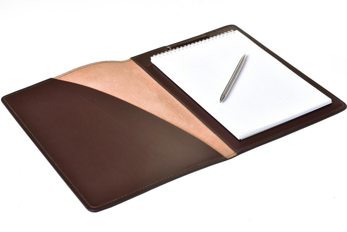 Папка под Блокнот А4 PREMIUM из кожи  Full Grain Brown/Cuoietto черный