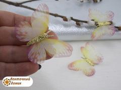 Бабочки шифоновые с золотым тельцем желто-розовые №2