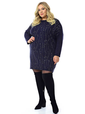 Тёмно-синее платье-туника Ангора