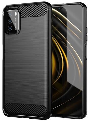 Мягкий защитный чехол на Xiaomi Poco M3, серия Carbon от Caseport
