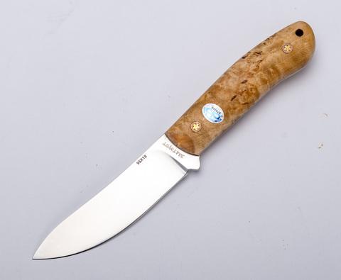 Шкуросъёмный нож цельномет. Горностай, 95х18, карельская береза