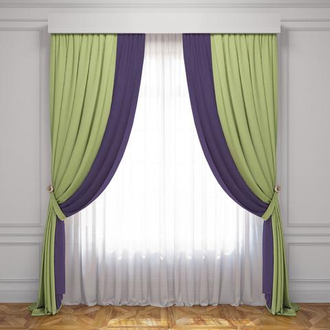 Комплект штор и тюль Ламанш зеленвй баклажан