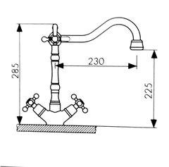 Смеситель KAISER Carlson Style 44133 хром и 44133-1 бронза для кухни под фильтр схема