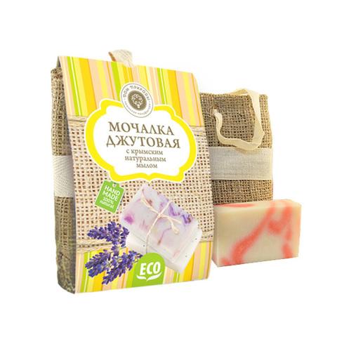 Мануфактура Дом Природы, Мочалка джутовая с мылом РОЗА, 100г