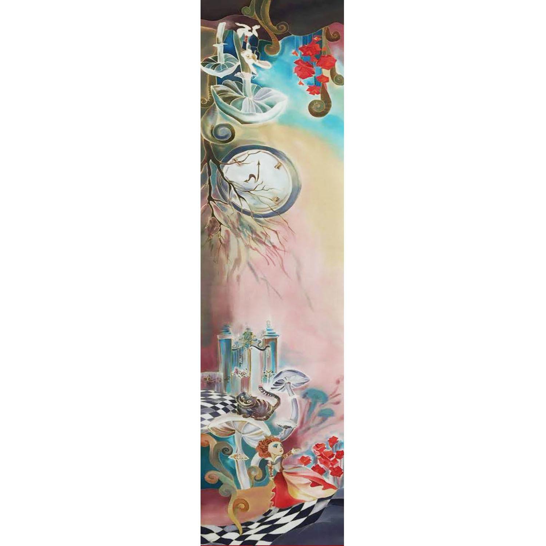 Шелковый шарф батик Алиса в стране чудес