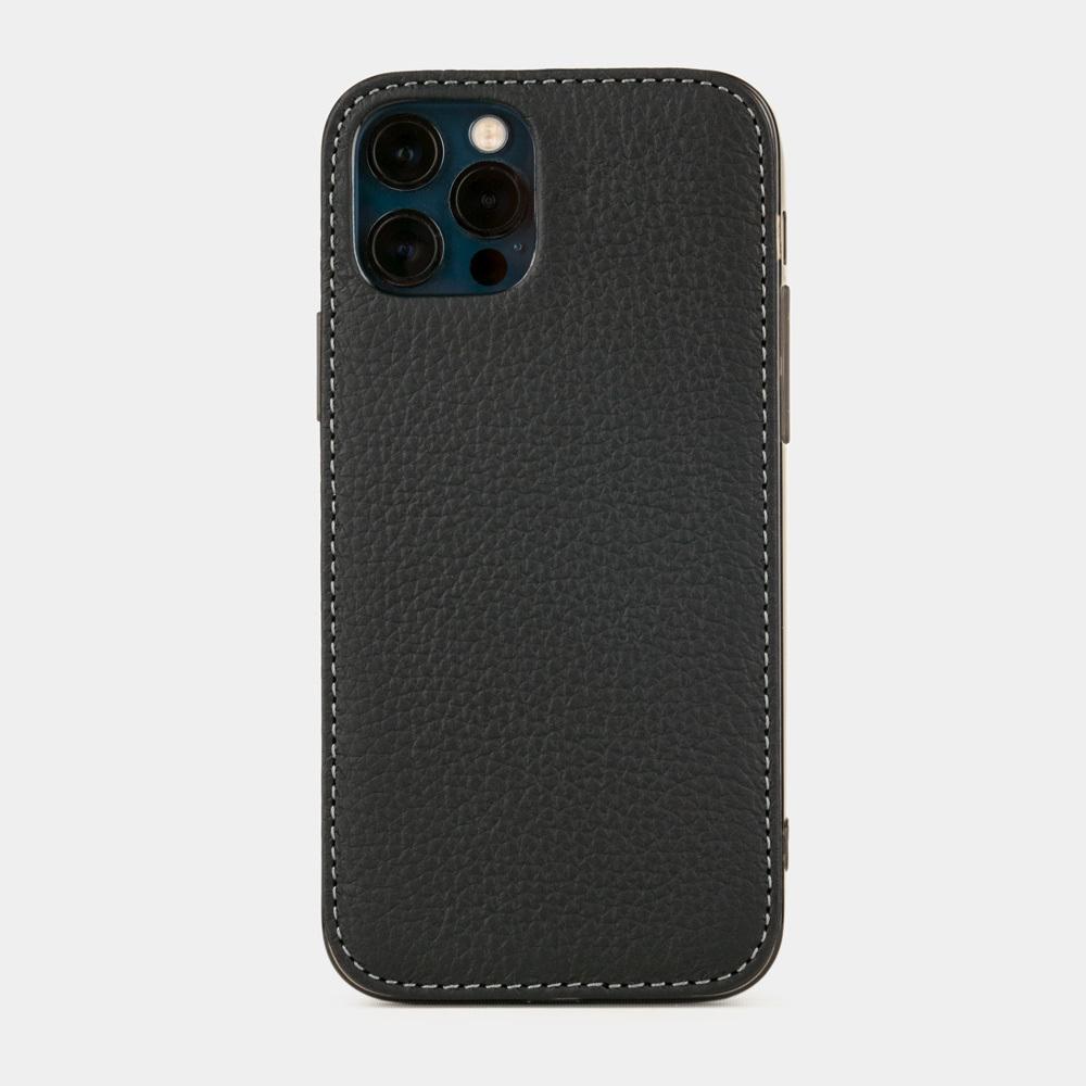 Чехол-накладка для iPhone 12/12Pro из натуральной кожи теленка, цвета черный мат