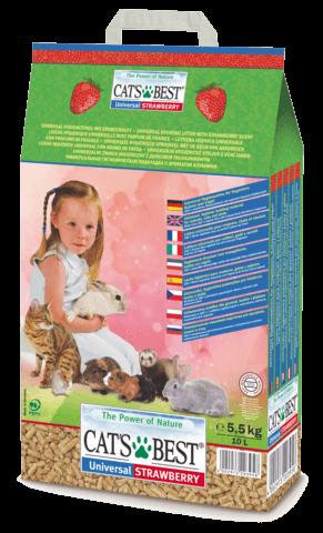купить Наполнитель Cat's Best Universal Клубника древесный, впитывающий, ароматизированный