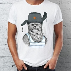 Звездные войны футболка Чубакка  в ушанке