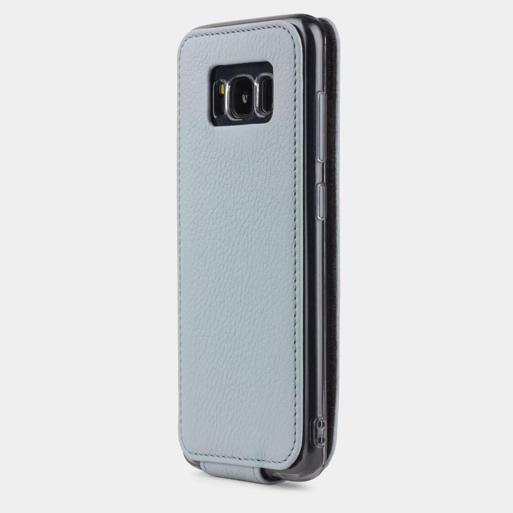 Чехол для Samsung Galaxy S8 из натуральной кожи теленка, голубого цвета