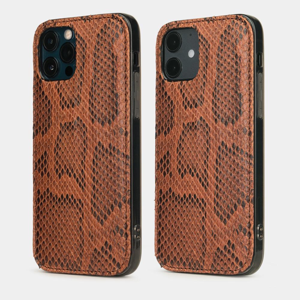 Чехол-накладка для iPhone 12/12Pro из натуральной кожи питона, цвета Коньяк