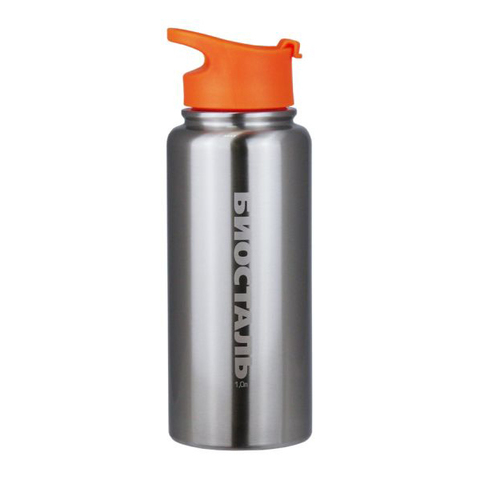Термос Biostal Спорт (1 литр), стальной/оранжевый